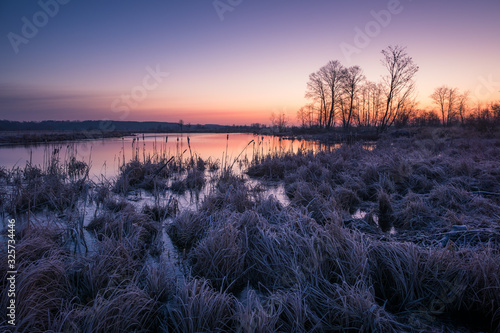 Photo Dawn over the Pilica backwaters near Przybyszew, Masovia, Poland
