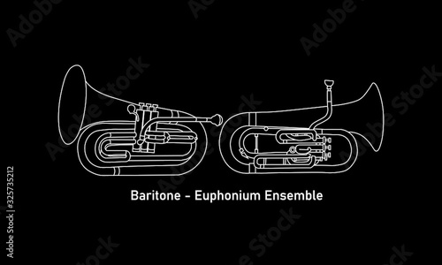 Photo White line, shape or outline forms of musical instruments as baritone and euphon