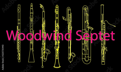 Foto Yellow outline illustration of oboe, clarinet, saxophone, various sax musical in