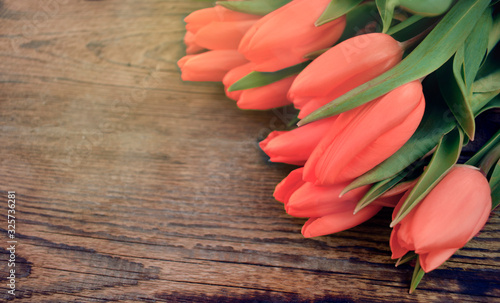 Fototapeta Close up red tulips bouquet on wooden background. Springtime greeting concept for Mothers day, Womens day or wedding. Copyspace. obraz na płótnie