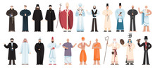 Set Of Religion People Wearing Specific Uniform. Religious Figure