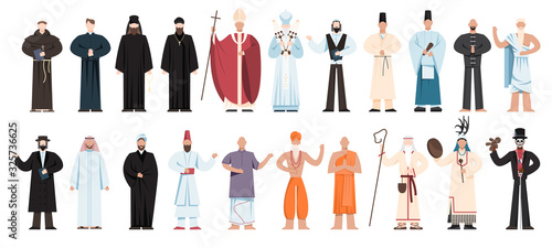 Set of religion people wearing specific uniform. religious figure Fotobehang