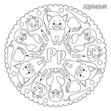Alphabet P Letter Coloring Page Mandala With Pear, Penguin, Pig,  Pepper, Pentagon, Pencil, Pumpkin. Vector Illustration.