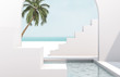Scene with geometrical forms, arch with a podium in natural day light. minimal landscape background. sea view. Summer scene. 3D render background.