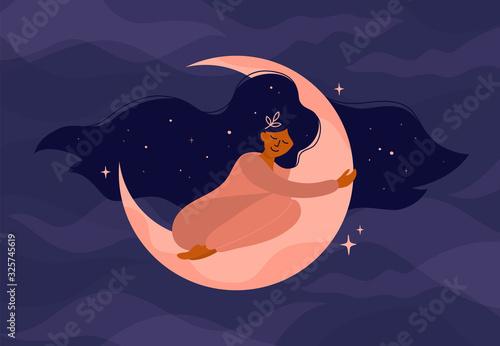 Śliczna dziewczyna z długimi włosami śpi na Księżycu. Romantyczne sny z nocnym niebem i gwiazdami. Ilustracja wektorowa kobiety przytula półksiężyc. Nowoczesna koncepcja czarownicy. Projekt okładki karty tarota, pocztówki.