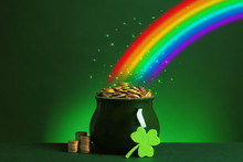 Pot With Gold Coins And Clover...