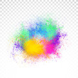 Abstract rainbow color splash on PNG background. Illustration of festival of colors with rainbow color powder.
