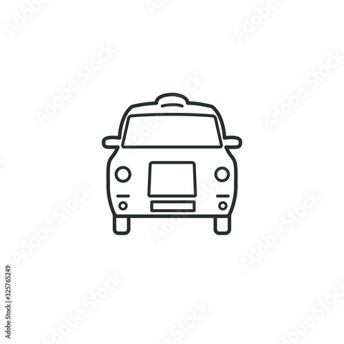 London cab taxi cars icons fill and outline isolated on white background Wallpaper Mural