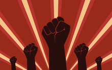 Silhouette Raised Fist Hand Protest In Flat Icon Design On Red Color Background