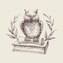 Wise Owl Symbol, Books, Laurel...