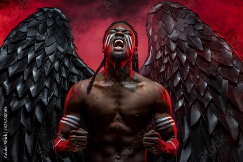 Leinwand Poster dark naked angel screaming from hopelessness and pain