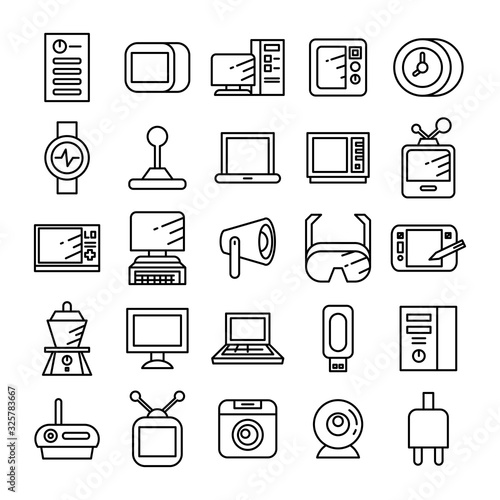 electronic device and appliance icons line Wallpaper Mural