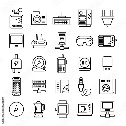 electronic device and appliance icons line Canvas Print