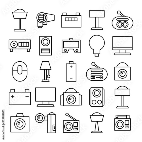 Photo electronic device and appliance icons line