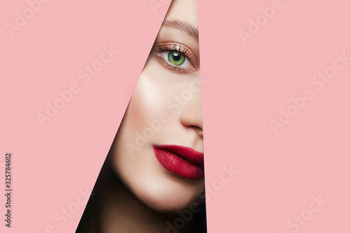 Fototapety, obrazy: young beautiful woman in pink paper. female face with makeup