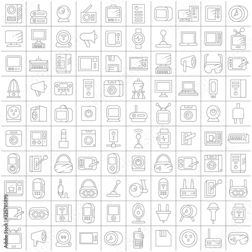 big set of electronic device and appliance icons thin line design Canvas Print