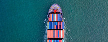 Top View  Cargo Containers Ship Logistics Transportation Container Ship Vessel Cargo Carrier. Import Export Logistic International Export And Import Services Export Products Worldwide