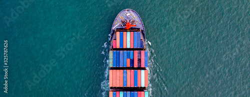 Top View  Cargo containers ship logistics transportation Container Ship Vessel Cargo Carrier Wallpaper Mural