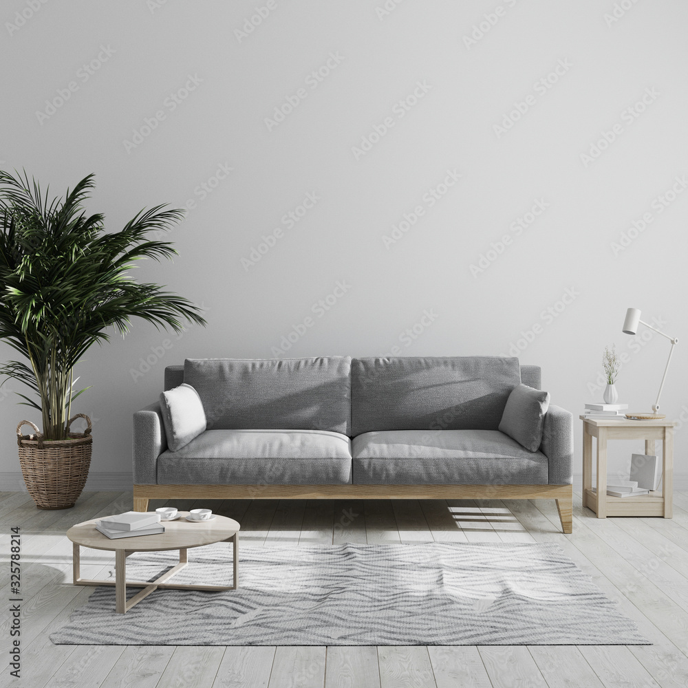 Fototapeta Modern minimalist living room interior mock up with gray sofa and palm tree, gray living room interior background, scandinavian style, living room in gray tones, 3d rendering