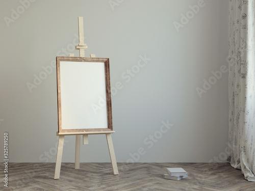 Photo Poster mockup frame on  easel 3d rendering