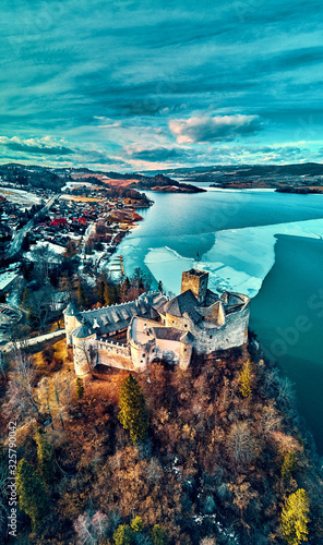 Beautiful panoramic aerial drone view to the Niedzica Castle also known as Dunajec Castle, located in the southernmost part of Poland in Niedzica, Nowy Targ County, Dunajec River, Lake Czorsztyn