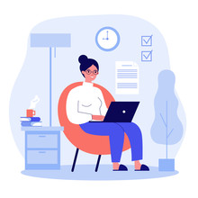Happy Freelance Worker Working With Laptop At Home. Woman Sitting In Armchair, Using Computer. Vector Illustration For Freelancer, Morning, Planning, Routine Concept