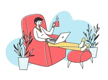 Relaxed Freelance Employee Drinking Coffee While Working At Home. Man Sitting In Armchair, Using Laptop. Vector Illustration For Freelancer, Morning, Remote Worker, Lifestyle Concept
