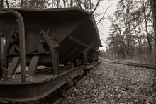 Old Rusty Wagons In A Forest, Abandoned, Narrow-gauge Railway, Abandoned, Dark Photo, Black And White, Mine Carts