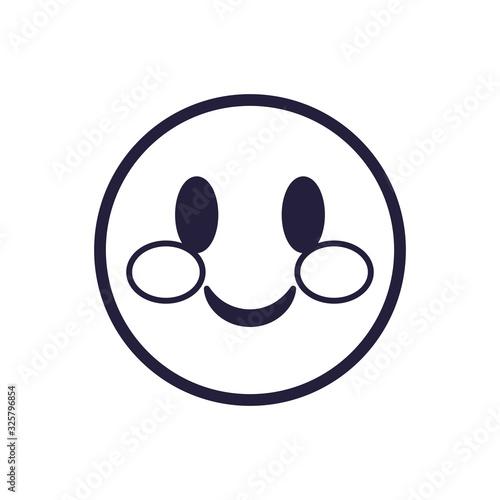 Fototapeta Blushing emoji face flat style icon vector design