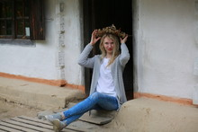 Blond Girl With Mini Jeans Re...