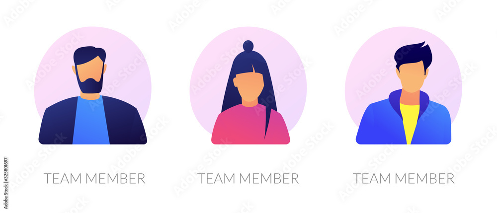 Fototapeta User personal profile characters set for social network. Employees, corporate male and female workers portraits. Team member, avatar metaphors. Vector isolated concept metaphor illustrations