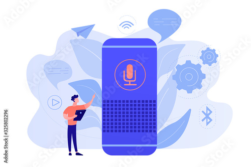 User with voice controlled smart speaker or voice assistant Wallpaper Mural