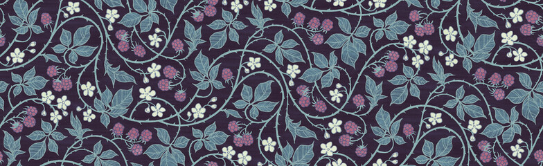 Floral botanical blackberry vines seamless repeating wallpaper pattern- calm ...