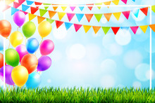 Colorful Balloons And Party Fl...