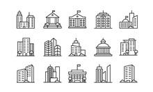 Big City Buildings Linear Icon...