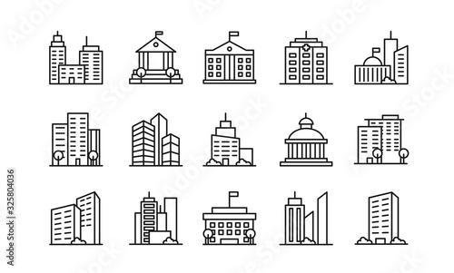 Canvas-taulu Big city buildings linear icons set
