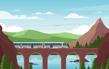 Speed Train On Stone Bridge Flat Vector Illustration. Modern Railroad Vehicle On Scenic Background. Beautiful Landscape With Contemporary Public Transport, Green Hills And Mountains. Railway Travel.