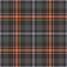 Plaid Pattern Vector. Seamless Dark Grey And Carrot Orange Check Plaid Background For Autumn And Winter Flannel Shirt, Scarf, Blanket, Or Other Modern Textile Design.