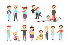 School Bullying Flat Vector Illustrations Set. Physical And Psychological Abuse, Classroom Conflicts. Fighting Children, Teasing Pupils Cartoon Characters Collection Isolated On White Background.