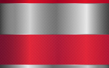Abstract Red And Silver Gray Realistic Metallic Shape Texture Background With Glossy Style Design. Vector Template For Use Element Cover, Banner, Brochure, Flyer, Poster, Wallpaper, Card, Presentation