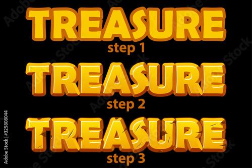 Cuadros en Lienzo Gold logo treasure inscription in 3 steps of drawing.
