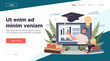 Online teacher explaining graphs on monitor. Students with laptops and books watching webinar. Vector illustration for internet education, training, elearning concept