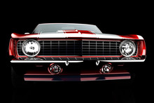 3D Illustration. Muscle Red Car Rendering Isolated On Black Background. Vintage Classic Sport Car.  Car Show. Wheels. Bumper. Front Perspective View. Chevrolet