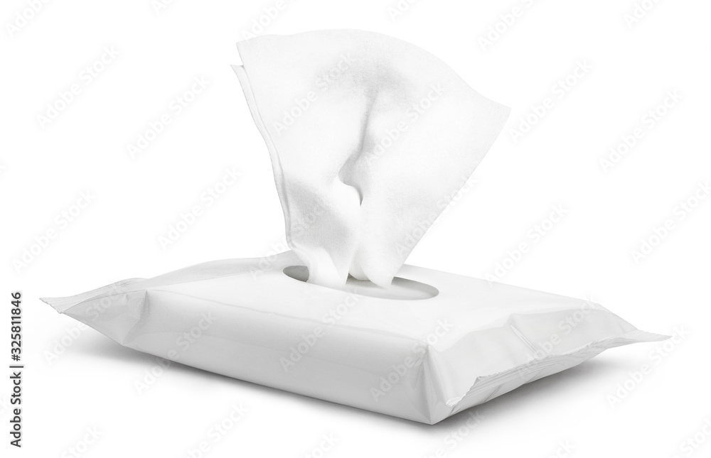 Fototapeta Open wet wipes flow pack, isolated on white background
