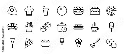 Fototapeta A simple set of fast food icons related to the vector line. Contains icons such as pizza, burger, sushi, bike, scrambled eggs and more. EDITABLE stroke. 480x480 pixels perfect, EPS 10 obraz