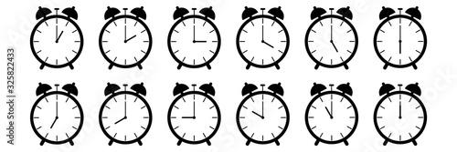 Fototapeta horizontal set of analog alarm clock icon notifying each hour isolated on white,vector illustration obraz