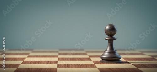 Canvastavla Black pawn on a chessboard.