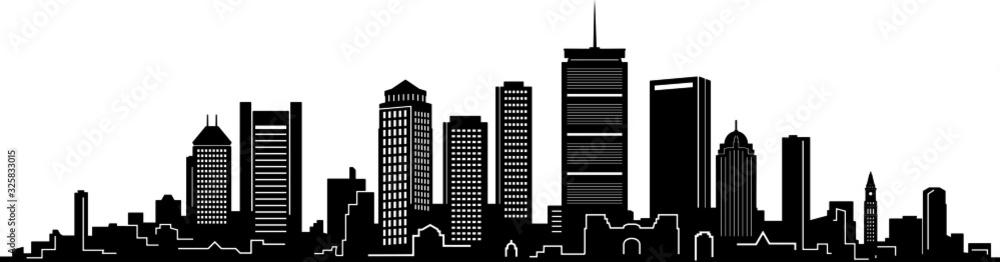 Fototapeta Boston City Skyline Outline Silhouette Vector