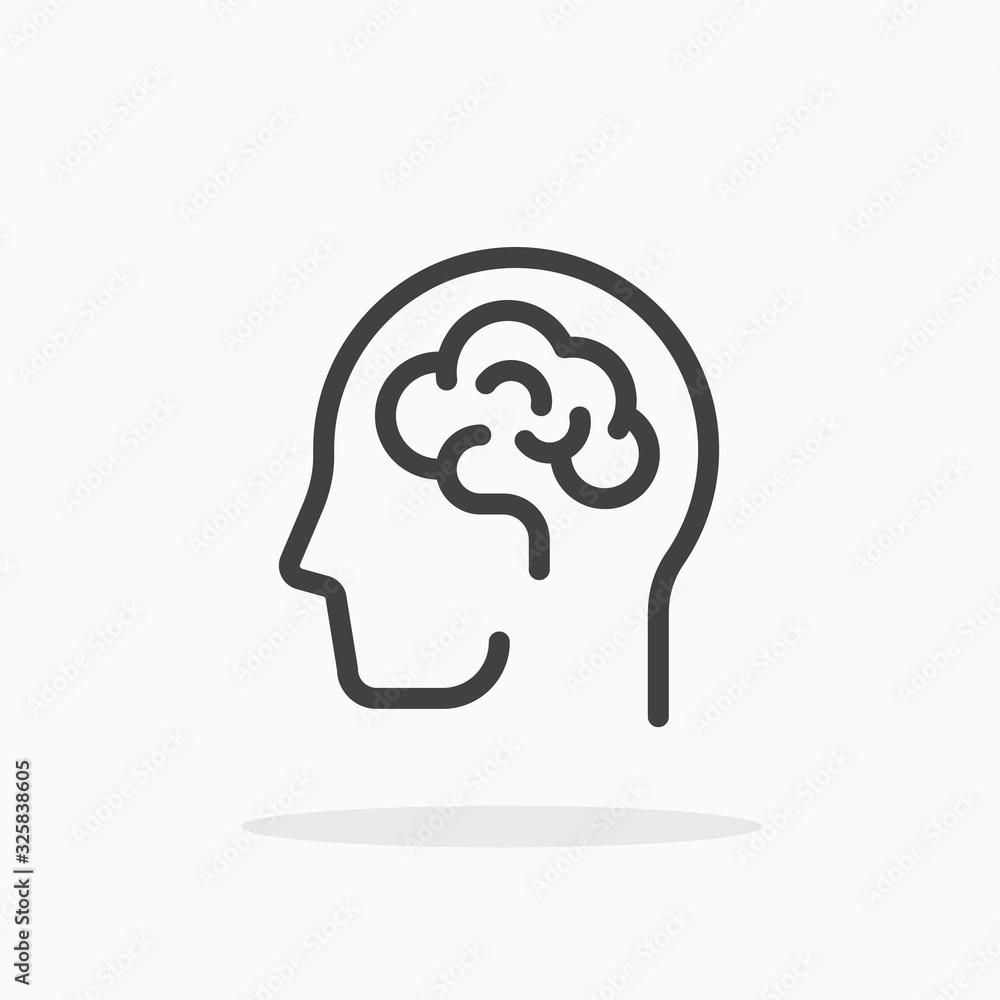 Fototapeta Human brain icon in line style. Editable stroke.