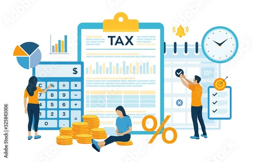 Fototapeta Concept tax payment. Data analysis, paperwork, financial research report and calculation of tax return. Payment of debt. Government, state taxes. Vector illustration in flat style with characters. obraz